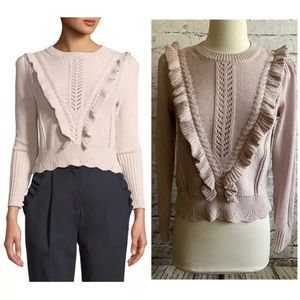 Rebecca Taylor Ruffled Cable Knit Sweater